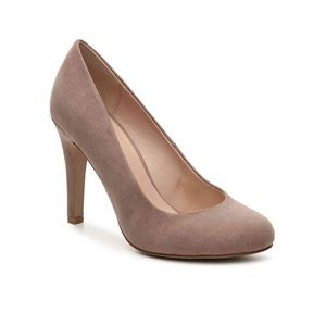 Kelly and Katie Taupe Faux Suede Pump Heels